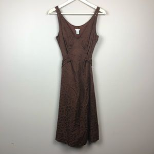 Anthropologie brown floral midi dress